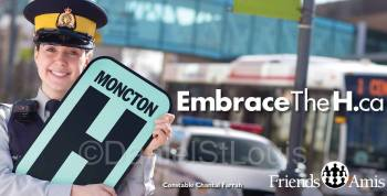 Chantal Farrah of the Moncton RCMP with Embrace the H Campaign for the Friends of the Moncton Hospital.