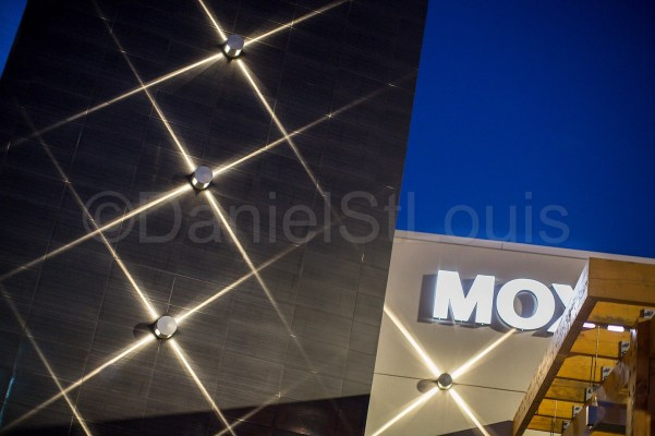The exterior lighting at Moxie's Bar and Grill in Moncton.