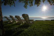 Chairs overlooking the water in Dunnville Ontario.