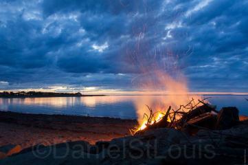Fire on the beach in Grand Barachois, NB.