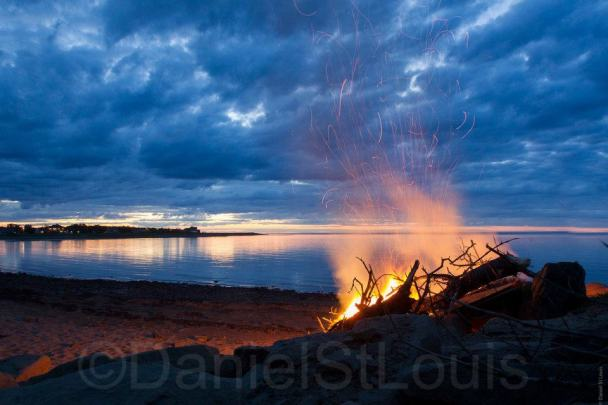 Fire on the beach in Grand Barachois, NB.