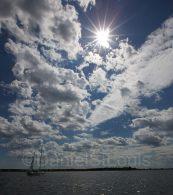 Blue cloudy skies in Shediac New Brunswick.