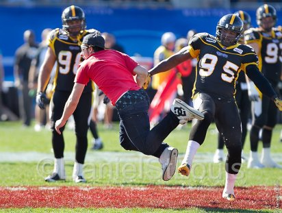 running across the field during CFL game.