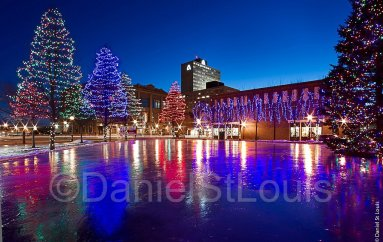 Sparkly lights on ice during holidays in Moncton, NB.