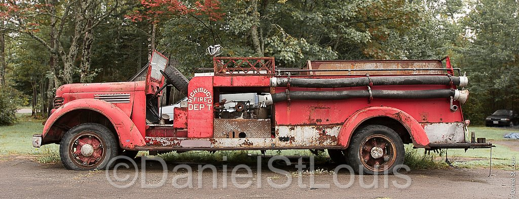 Old fire truck in Albert County, NB.