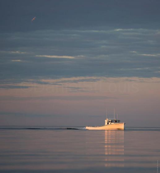 Fishing boat making the best of a sunset cruise in Grand Barachois, NB.