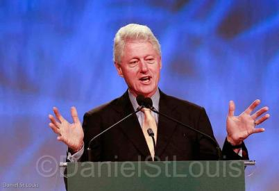 president bill clinton speaking at moncton coliseum.