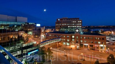 Cityscape of Moncton taken from the top of City Hall at night.