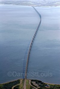 Aerial photo of the Confederation Bridge, PEI.