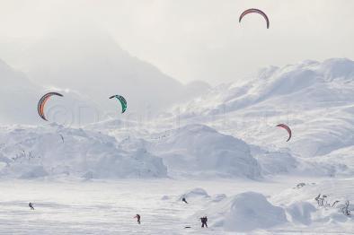 Kite skiing in the White Pass between Whitehorse, Yukon and Skagway, Alaska.