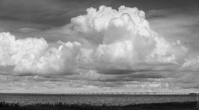 Black and white sky of confederation bridge.
