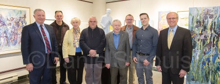 MP Robert Goguen, Artists Paul-Edouard Bourque, Ann Balch, Yvon Gallant, Claude Roussel, Charles Flewelling, Derek Martin(chair,DMCI) & Mayor George LeBlanc
