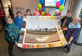 These ladies made a very impressive quilt and donated it to the city