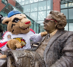 WIld Willie of the Moncton WIldcats plays a role in Reading is Wild. It seemed like a fun thing to do with Northrup Frye 's outside the Blue Cross Center