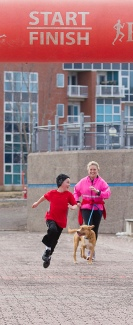 A little family competition to get to the finish line - Riverfront Trail Run
