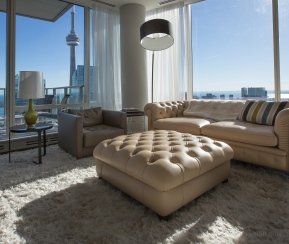 Penthouse architectural photo, captured in the Shangri-La with a southern view of the CN Tower, Toronto